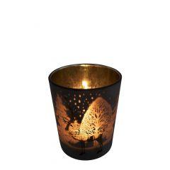Teelichthalter glas rentier bronze small