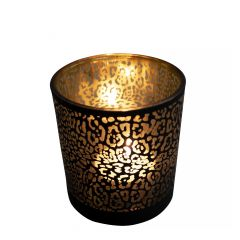 Teelichthalter glas jaguar druck mattschwarz medium