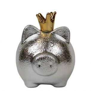 Spardose schwein silber mit golden krone medium