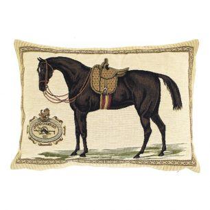 Gobelin kissen pferd sattel braun 30x45cm