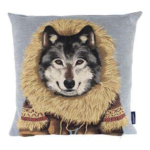 Gobelin kissen mantel wolf 45x45cm
