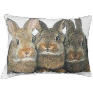Kanevas kissen 3 kaninchen braun 35x50cm