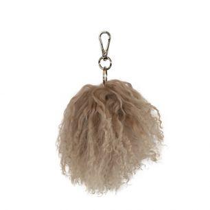 Schlüsselanhänger pom pom schaf lockiges haar beige