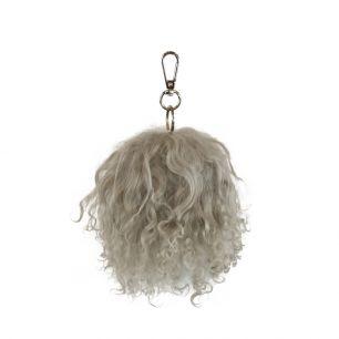 Schlüsselanhänger pom pom schaf lockiges haar grau