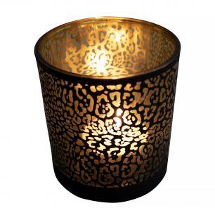 Teelichthalter glas jaguar druck mattschwarz large