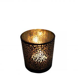 Teelichthalter glas jaguar druck mattschwarz small