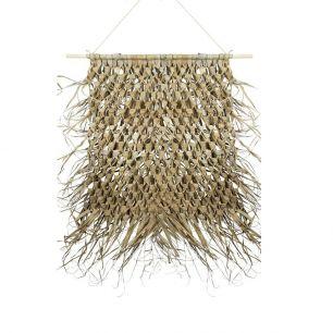 Wandteppich geflochtenes palmblatt auf stick 80cm