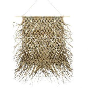 Wandteppich geflochtenes palmblatt auf stick 90cm