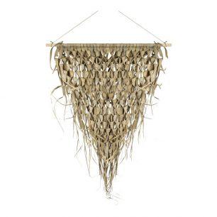 Wandteppich geflochtenes palmblatt dreieck auf stick 55cm