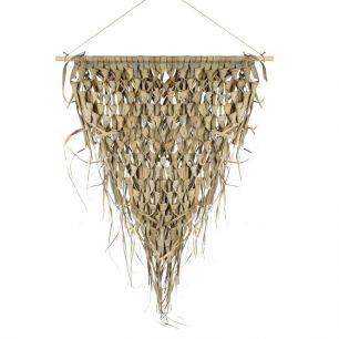 Wandteppich geflochtenes palmblatt dreieck auf stick 75cm